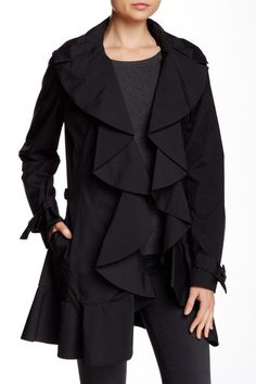 Front Ruffle Trench Coat