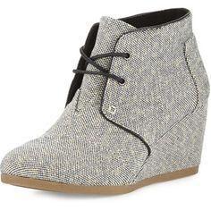 TOMS Metallic Linen Desert Wedge Boot