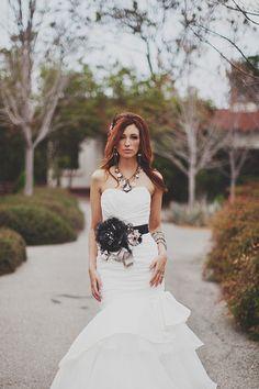 Bring something besides white into the wedding dress.