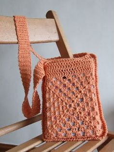 crochet book bag made from granny squares