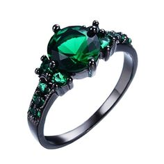 Junxin Jewelry Cz Jewelry Comfort Fit Women's Wedding Engagement Emerald Ring Size9 - Brought to you by Avarsha.com