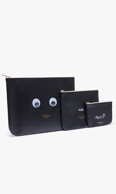 This witty set of zip pouches is playful, practical and ideal for toting makeup, cash and all your other necessities.