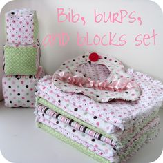 Sew Adorable Baby Gift Trio using receiving blankets for an inexpensive fabric supply.  Links to free patterns