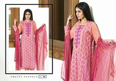 Satrangi Lawn - Eid Collection 2015 Design Code & Name: Pretty Pastels DN48B  Description: Shirt: 2.5m (lawn) Sleeves: 1m (lawn) Shalwar: 2.5m (Dyed) Dupatta: 2.5m (Chiffon)  For Price & Order  WhatsApp +92 331 2319665  Like our Facebook Page www.facebook.com/A.YDesiBoutique