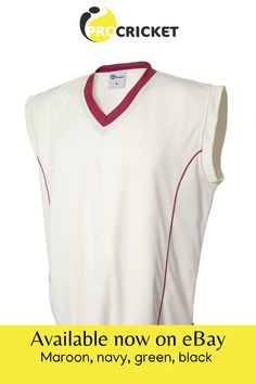 A warm fleece style lining in this high performance white sleeveless cricket pullover, with maroon trim, will keep the cold out on the cricket pitch Cricket Whites, Sportswear Brand, Pitch, Jumper, Brand New, Cold, Warm, Pullover, Shirts