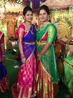 Half Saree Designs, Pattu Saree Blouse Designs, Saree Blouse Patterns, Lehenga Designs, Half Saree Lehenga, Kids Lehenga, Lehenga Blouse, Half Saree Function, Pink Half Sarees