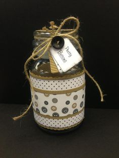 Recycling an empty coffee jar to make a pretty storage jar for my buttons :o) I need to make 6 more!