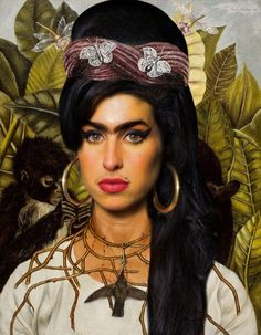 Frida Kahlo and Amy Winehouse fusion
