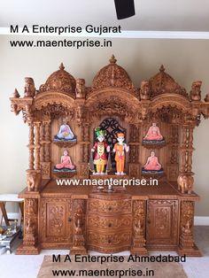 Swaminarayan wooden temple mandir for home pooja. To make such designs contact www. Wooden Temple For Home, Temple Design For Home, Home Temple, Styrofoam Art, Mandir Design, Apartment Entrance, Pooja Mandir, Vertical Garden Design, Pooja Room Door Design