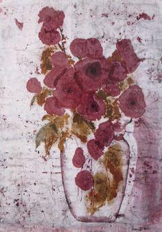 Floral  watercolor batik fine art print from by MarciaMcKinzieArt