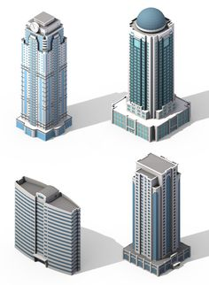 Buildings collection by marnerion Various buildings collection made in Max One building is one solid mesh, all organized in layers. Architecture Symbols, Architecture Concept Diagram, Futuristic Architecture, Minecraft Skyscraper, Minecraft City Buildings, N Scale Buildings, Modern Buildings, 3d Building Models, Building Design