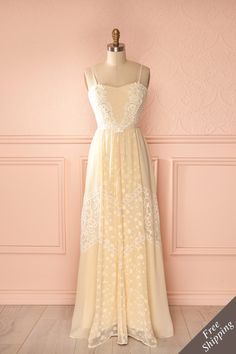 Antonia - Beige veil maxi dress with lace embroidered accent