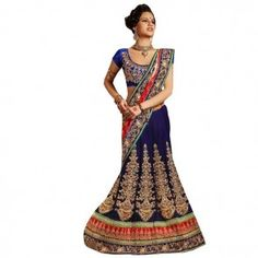 3550021f19 Blue Resham Embroidery Lehenga Saree Party Wear Lehenga, Indian Ethnic,  Wedding Store, Saree