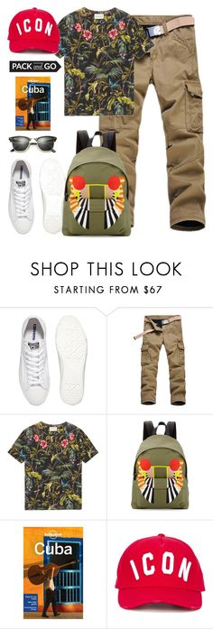 """""""Pack and Go: Cuba!"""" by yinggao ❤ liked on Polyvore featuring Converse, Gucci, Givenchy, Lonely Planet, Dsquared2, Ray-Ban, men's fashion, menswear and Packandgo"""