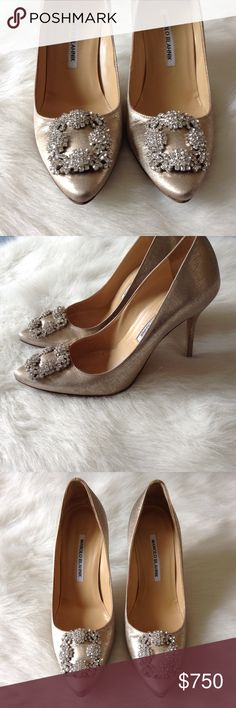 LAST DAY! Manolo Blahnik crystal heels Brand new, never worn. A must have! Made in Italy. Authentic. Manolo Blahnik Shoes Heels