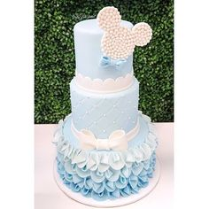 """1,507 Likes, 15 Comments - Lynda Correa (@storybook_bliss) on Instagram: """"Beautiful baby blue Mickey Mouse cake design!! Event by @prettyposhparties cake by @dressmycake…"""""""