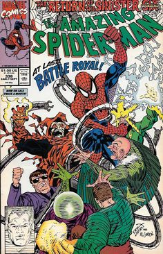 """The Return of the Sinister Six, pt. 5 """"Death from Above""""_ Script by David Michelinie , Art And Cover Erik Larsen ,At last the Sinister Six make their move! Just minutes before Cordco's satellite launc"""
