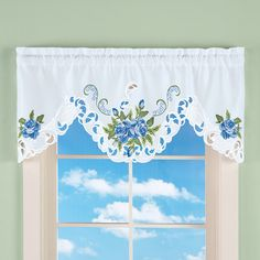 Embroidered Blooming Roses Window Valance