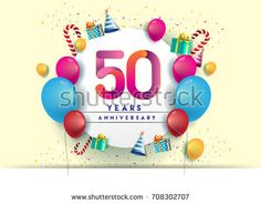 50th years Anniversary Celebration Design with balloons and gift box, Colorful design elements for banner and invitation card.