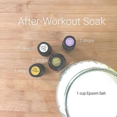 Here's a recipe for you!  Recipe: Mix 1 cup Epsom Salt, 2 drops Lavender, 2 drops Roman Chamomile, 2 Drops Marjoram, and 1 drop Helichrysum in your warm bath water. Soak for 15-30 minutes. Enjoy! And don't forget to hydrate!<br>Learn more about essential oils on my blog: www.thepricklypilotswife.com<br>#doterra #essentialoils #bathsalts<br>