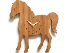 Woodworking For Kids horse clock, Clock for kids room, childrens room decor, farm animal theme, modern wall clock Horse Themed Bedrooms, Horse Rooms, Wall Clock Wooden, Wall Clocks, Clock For Kids, Unique Clocks, Creation Deco, Woodworking Projects For Kids, Childrens Room Decor