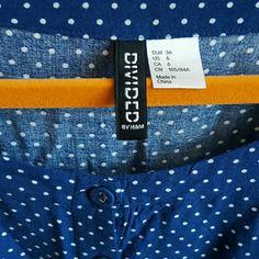 H&M Dresses - H&M Divided Blue White Polka Dot Dress