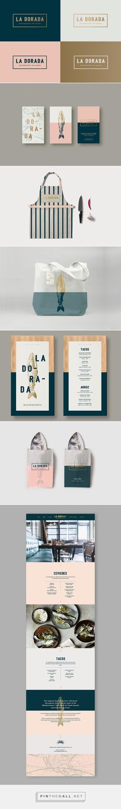 Food Inspiration - La Dorada packaging branding on Behance curated by Packaging Diva PD. Who's up for fish for lunch : ) PD. - a grouped images picture - business branding Graphisches Design, Logo Design, Brand Identity Design, Graphic Design Branding, Typography Design, Brand Design, Menu Design, Stationery Design, Business Branding