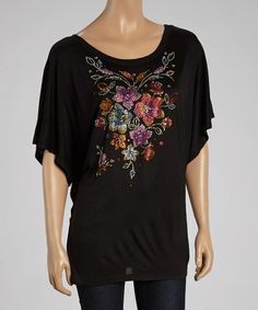 Loving this Black Floral Shimmer Graphic Top - Women on #zulily! #zulilyfinds