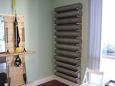 Foam Roller and Yoga Mat Storage Rack Wall Mount in Birch... https://www.amazon.com/dp/B0186QM7TQ/ref=cm_sw_r_pi_dp_9dEGxbXT14TGX
