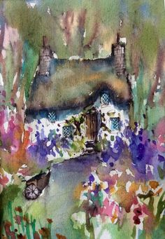 Lilac Cottage. MOUNTED PAINTING by Roma Mountjoy