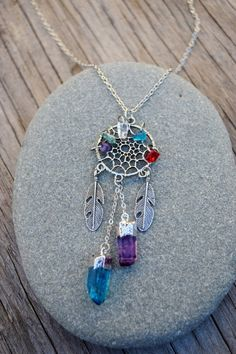 Crystal Dreamcatcher Necklace Boho Chic Dream by HalfMoonFusion