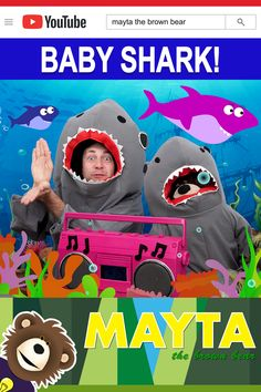 Watch as Mayta the B go underwater and sing the Baby Shark song. Mayta The Brown Bear features educational learning videos for kids. Baby Learning Videos, Toddler Learning, Toddler Activities, Baby Shark Kids Song, Baby Kids, Baby Songs, Kids Songs, Baby Hai, Sharks For Kids