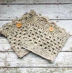 Aran Crochet Boot Cuffs Oatmeal Fleck Legwarmers Wood Button Womens Beige Chunky Boot Socks Short Calf Warmers Handmade in USA