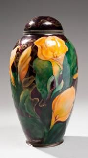 Camille Faure (1874-1956)~Vase urn ovoid copper relief decoration enameled lilies