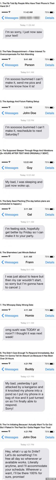 9 Classic Texts Every Lying Ass Flake Has Sent At Some Point