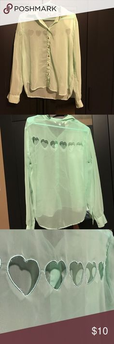 Selling this Mint green sheer shirt with heart cutouts on Poshmark! My username is: ahansen172. #shopmycloset #poshmark #fashion #shopping #style #forsale #Tramp #Tops