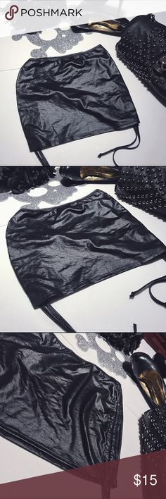 NWOT faux leather drawstring shirt biker skirt This NWOT, made of pleather (faux leather) this shirt & super cute skirt can be worn with just about anything! Cute for the typical biker babe, to a rave, for a dancer or many different Halloween costumes. each strong has a drawstring to make smaller &a tighter is you ease. Is somewhat thin and super stretchy. Made my Espiral lingerie. Size small. #fauxleather #pleather #short #skirt #biker #rave #leather #halloween #costume #miniskirt…