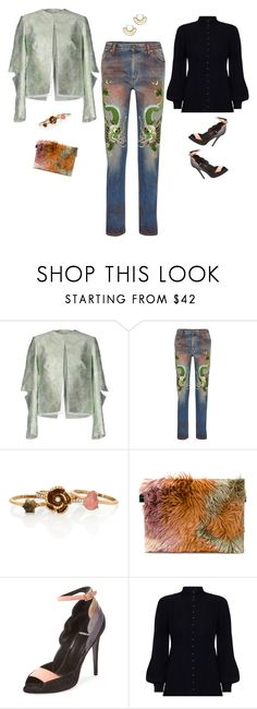 """Untitled #876"" by jeauhall ❤ liked on Polyvore featuring Christopher Kane, Gucci, Chloe + Isabel, MM6 Maison Margiela, Pierre Hardy, Zimmermann and Pamela Love"