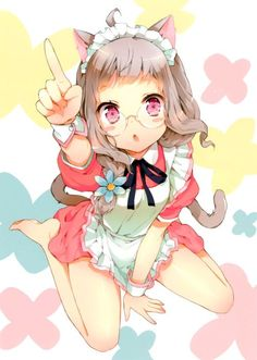 :o absurdres ahoge animal ears apron arm support bare legs barefoot between legs blush stickers braid cat ears cat tail cuteg feet flower from above glasses grey hair hair flower hair ornament hair over shoulder hand between legs highres index fi Chica Gato Neko Anime, Anime Girl Neko, Anime Kawaii, Kawaii Girl, Anime Girls, Manga Art, Manga Anime, Character Drawing, Character Design