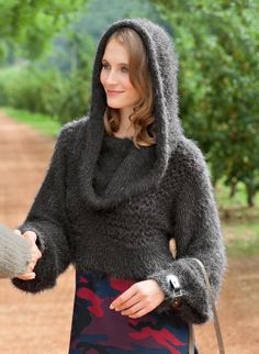Short hooded sweater knitting pattern but would be cool out of a nice fabric.