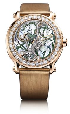 Diamond Watches Collection : A watch from Chopard's Happy Diamonds series, which goes along side its Animal World Series. - Watches Topia - Watches: Best Lists, Trends & the Latest Styles Fancy Watches, Luxury Watches, Ladies Watches, Amazing Watches, Beautiful Watches, Patek Philippe, Harry Winston, Devon, Cartier