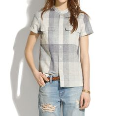 Madewell Short-sleeve Shirt in Screendoor Plaid Cute Business Casual, Blue And White Shorts, White Short Sleeve Shirt, Plaid Shirts, Denim And Lace, Knit Shirt, Striped Tee, Pretty Outfits, Madewell