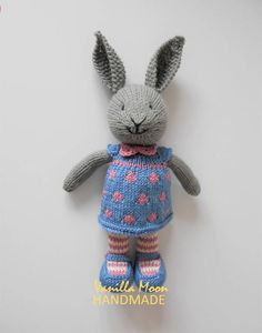 FREEPOST - Knitted Rabbit/Soft Toy/Bunny in a Spotted Dress - Handmade - Ready to Ship by VanillaMoonHandmade on Etsy