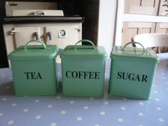 Z/SOLD  A GREEN SET OF TEA COFFEE SUGAR CANISTERS