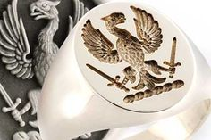 Eagle Holding Swords Crest Ring