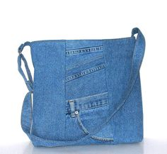 Recycled jeans tote purse,cross body bag ,school messenger,shoulder bag with top zipper