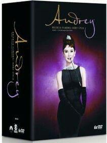 """Kolekcja 6 filmów Audrey Hepburn: """"Śniadanie u Tiffany'ego"""", """"Rzymskie wakacje"""", """"Sabrina"""", """"Zabawna buzia"""", """"Wojna i pokój"""", """"Kiedy Paryż wrze""""."""