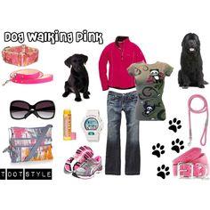 Dog Walking Pink, created by heroandluna on Polyvore (me)