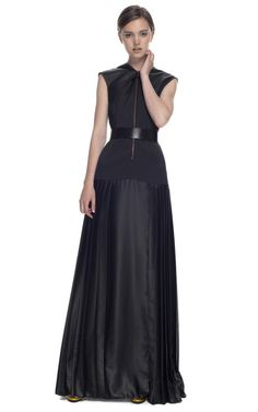 Cédric Charlier's Resort 2013 Black Mirror Satin Gown