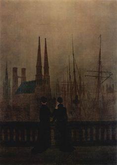 Nacht im Hafen, Caspar David Friedrich